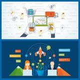 Concepten voor mobiele marketing, het winkelen, startzaken, financiële strategie vector illustratie