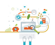 Concepten voor mobiele marketing, online het winkelen en financiële strategie Stock Foto's
