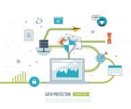 Concepten voor mobiele marketing, online het winkelen en financiële strategie Stock Afbeelding