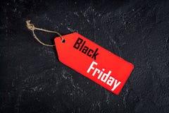 Concepten zwarte vrijdag op donkere hoogste mening als achtergrond Royalty-vrije Stock Afbeeldingen