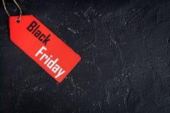 Concepten zwarte vrijdag op donkere hoogste mening als achtergrond Royalty-vrije Stock Foto