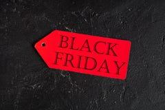 Concepten zwarte vrijdag op donkere hoogste mening als achtergrond Stock Foto