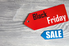 Concepten zwarte vrijdag op houten hoogste mening als achtergrond Royalty-vrije Stock Fotografie