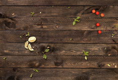 Conceptenachtergrond voor het menu Houten lijst stock fotografie