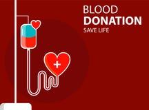 Conceptenbanner met drooper en hart De bloeddonatie redt het leven Vector royalty-vrije illustratie