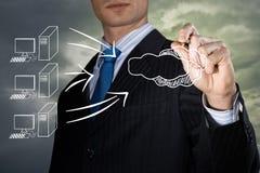 Conceptenbeeld van hoge wolkentechnologieën Stock Afbeeldingen