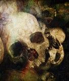 Conceptendood met menselijke schedels met grungelagen royalty-vrije stock foto