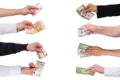 Concepteneuro tegen dollar Stock Foto's