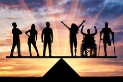 Conceptengelijkheid van gehandicapten in de maatschappij stock afbeeldingen