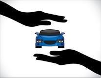 Conceptenillustraties van een Autoverzekering of een Autobescherming die Handsilhouetten gebruiken Royalty-vrije Stock Foto