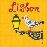 Conceptenkaart met typische Portugese lantaarn Stock Foto's