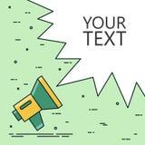 Conceptenluidspreker en tekst op achtergrond wordt geïsoleerd die Vectorillustratie voor uw banner of website Royalty-vrije Stock Foto