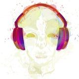 Conceptenmuziek Een abstracte vector voor mens het luisteren muziek met hoofdtelefoons Artistiek handdrawontwerp Vector illustrat Stock Fotografie
