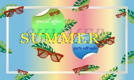 Conceptenprentbriefkaar voor wat betreft de zomer met glazen Vectorillustratie, banner stock illustratie
