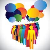 Conceptenvector - de interactie & de mededeling van bedrijfwerknemers royalty-vrije illustratie