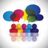 Conceptenvector van schooljonge geitjes of de vergadering die van het bureaupersoneel spreken Stock Afbeeldingen