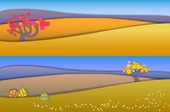 Conceptenverandering van seizoenen Bolconcept die vreedzaam en I tonen royalty-vrije illustratie
