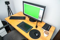 Concepteur de photo, photos retouchantes, espace de travail de photo Photo stock