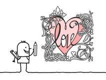 Concepteur Drawing de bande dessinée un rétro coeur de style illustration libre de droits