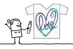 Concepteur Drawing de textile de bande dessinée un coeur peu précis illustration stock