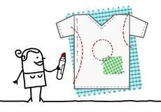 Concepteur Drawing de textile de bande dessinée un tee-shirt illustration de vecteur