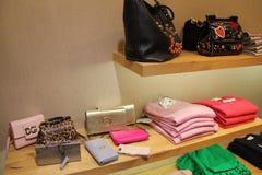 Concepteur Handbag et habillement dans le magasin photo stock