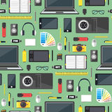Concepteur Workplace Background Pattern de bande dessinée Vecteur Photo stock
