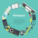 Concepteur Workplace Banner Card de bande dessinée Vecteur Photos libres de droits