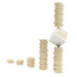 Conceptie van het de frauderisico van de belasting als de geïsoleerdew muntstukstapels Stock Afbeeldingen