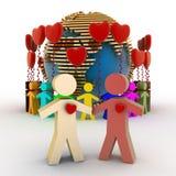 Conceptie van liefde en vriendschap in de gehele wereld Stock Afbeelding