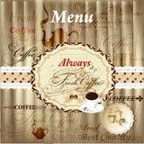 Conception élégante de menu avec des éléments de café sur la texture en bois dans le vint Photos stock