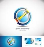 Conception abstraite d'icône de logo de la sphère 3d de cercle illustration libre de droits