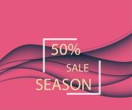 Conception abstraite d'une vente saisonnière avec les lignes onduleuses dans un style élégant dynamique sur un fond d'écarlate Photos stock