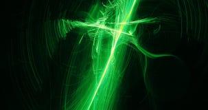 Conception abstraite dans les lignes vertes et jaunes particules de courbes illustration stock