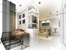 Conception abstraite de croquis de chambre à coucher intérieure Image libre de droits