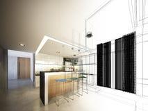 Conception abstraite de croquis de cuisine intérieure Photographie stock libre de droits