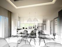 Conception abstraite de croquis de diner d'intérieur et de pièce de cuisine, 3d Photographie stock libre de droits