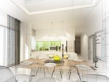 Conception abstraite de croquis de diner d'intérieur et de pièce de cuisine, 3d Photos libres de droits