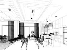 Conception abstraite de croquis de diner d'intérieur et de pièce de cuisine, 3d Image stock
