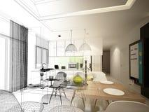 Conception abstraite de croquis de diner d'intérieur et de pièce de cuisine, 3d illustration de vecteur