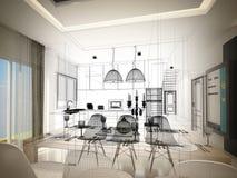 Conception abstraite de croquis de diner d'intérieur et de pièce de cuisine, 3d illustration libre de droits