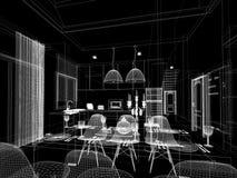 Conception abstraite de croquis de diner d'intérieur et de pièce de cuisine, 3d Images libres de droits