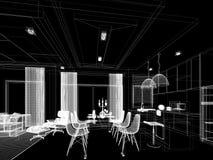Conception abstraite de croquis de diner d'intérieur et de pièce de cuisine, 3d Photographie stock
