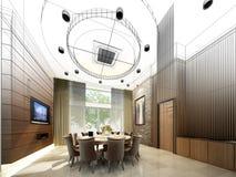 Conception abstraite de croquis de diner intérieur, 3d Photographie stock libre de droits