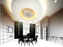 Conception abstraite de croquis de diner intérieur, 3d Images stock