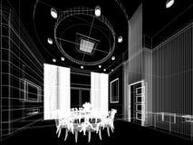 Conception abstraite de croquis de diner intérieur, 3d Photos libres de droits