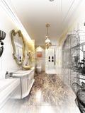 Conception abstraite de croquis de salle de bains intérieure luxueuse illustration stock