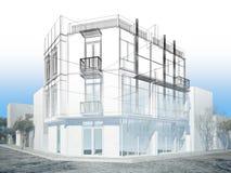Conception abstraite de croquis du bâtiment extérieur Photographie stock