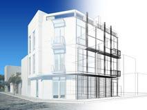 Conception abstraite de croquis du bâtiment extérieur illustration de vecteur