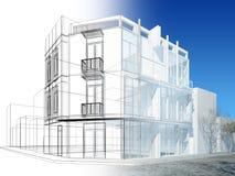 Conception abstraite de croquis du bâtiment extérieur illustration libre de droits